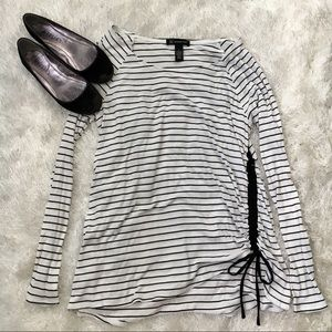 INC White & Black Striped Ribbed Side Tie Top